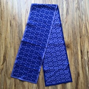 Coach Reversible Merino Wool Purple Blue Scarf